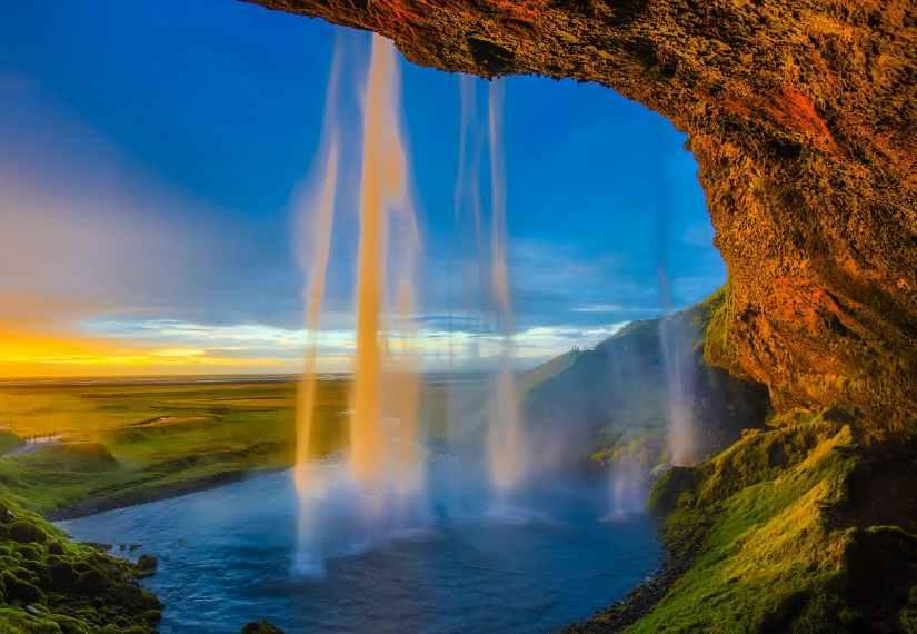 cascade cliff clouds dawn