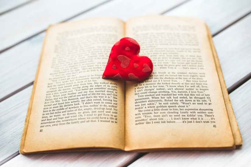 red heart on a old opened book ii